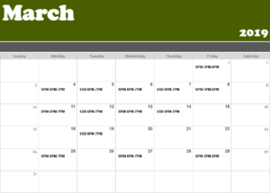 March Group Fit Schedule
